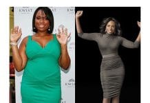 This is a before and after picture of Jennifer Hudson weight loss.