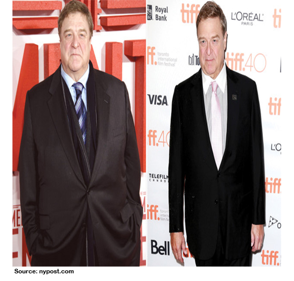 This is a before and after picture of Rosanne star John Goodman documenting his weight loss transformation