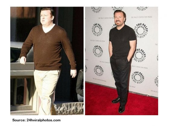 RICKY GERVAIS WEIGHT LOSS PICTURES