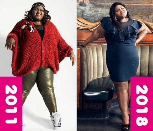 This pic is of gabourey sidbe or precious showing her weight loss transformation