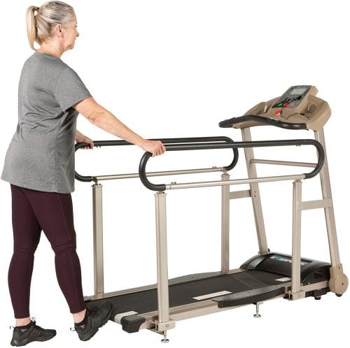 Best Treadmill For Senior Walking. Elderly woman on treadmill.
